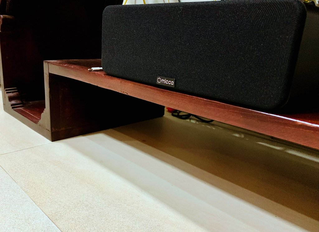 Angle the Micca OoO speaker up, if close to the floor